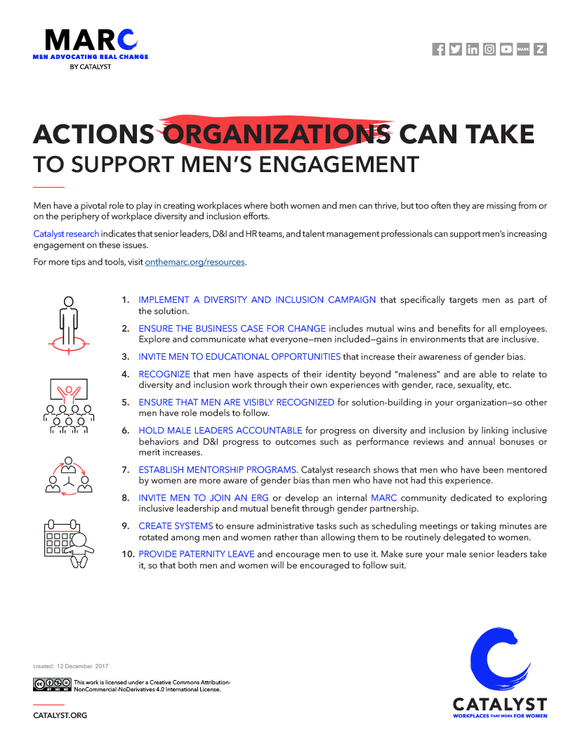 Actions Organizations Can Take to Support Men's Engagement