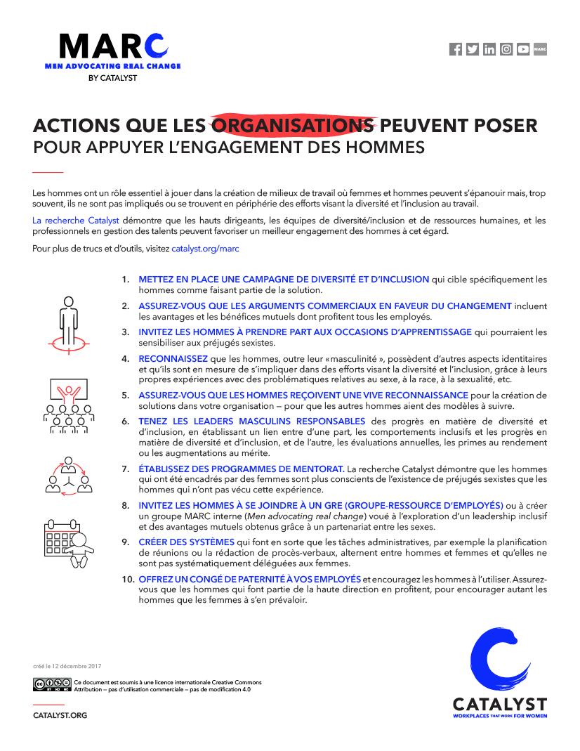 Actions que les organisations peuvent poser