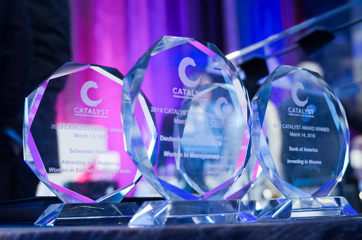 Photo of three Catalyst Awards.