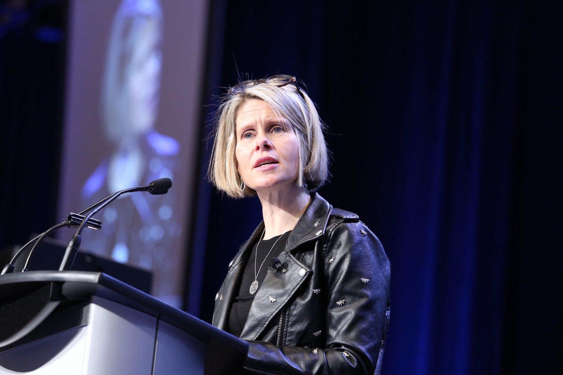 Tanya van Biesen speaking at the conference