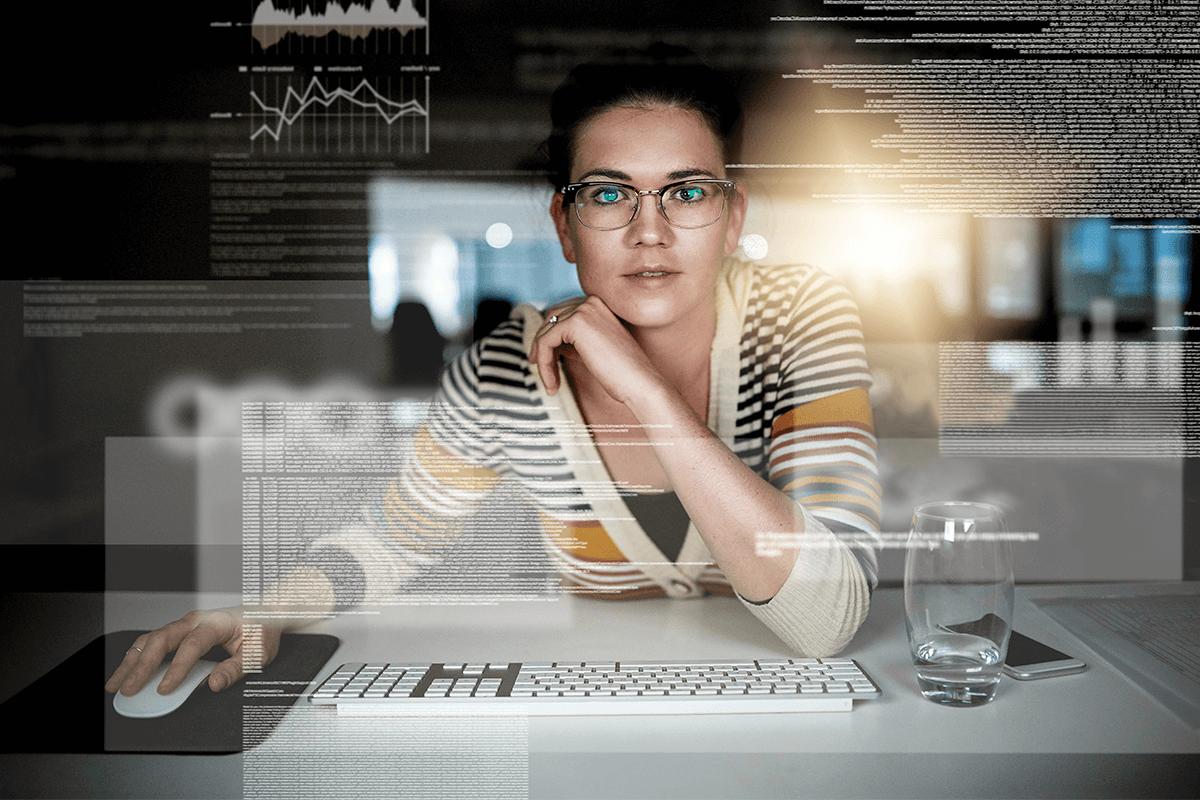 women in futuristic office space