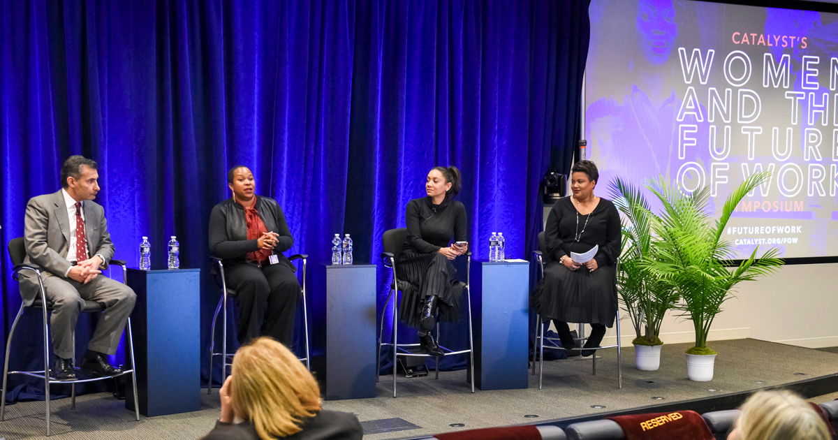 Dnika J. Travis, PhD, Vice President, Research, Catalyst (right), moderates a panel discussion on intersecting identities with Giorgio Siracusa, Procter & Gamble, Kanika Raney, Google, and Dr. Allison Scott, Kapor Institute.