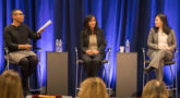 Co-Moderator Naomi Patton, Catalyst (left) discusses inclusion in the global labor force with Mekala Krishnan, from McKinsey and Jieun Choi from the World Bank.