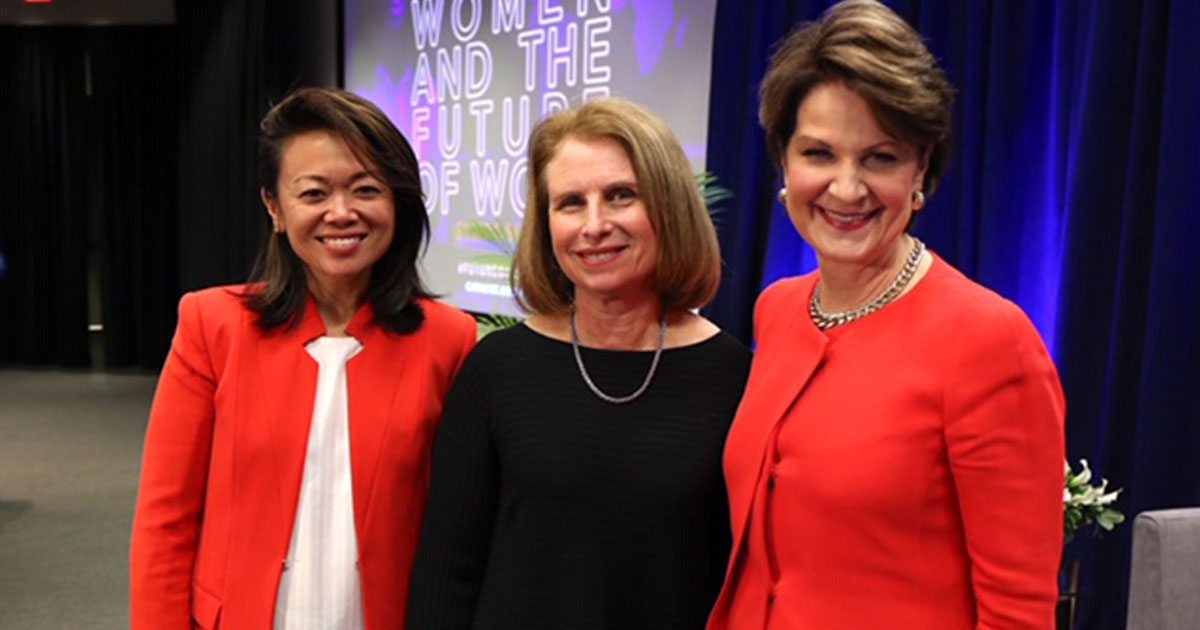 To start the symposium, Claudia Chan, Creator of S.H.E. Summit & Author of This Is How We Rise (left), moderated a discussion about the future of work between Catalyst President & CEO Lorraine Hariton (center) and Marillyn A. Hewson, Chairman, President and Chief Executive Officer, Lockheed Martin Corporation (right).