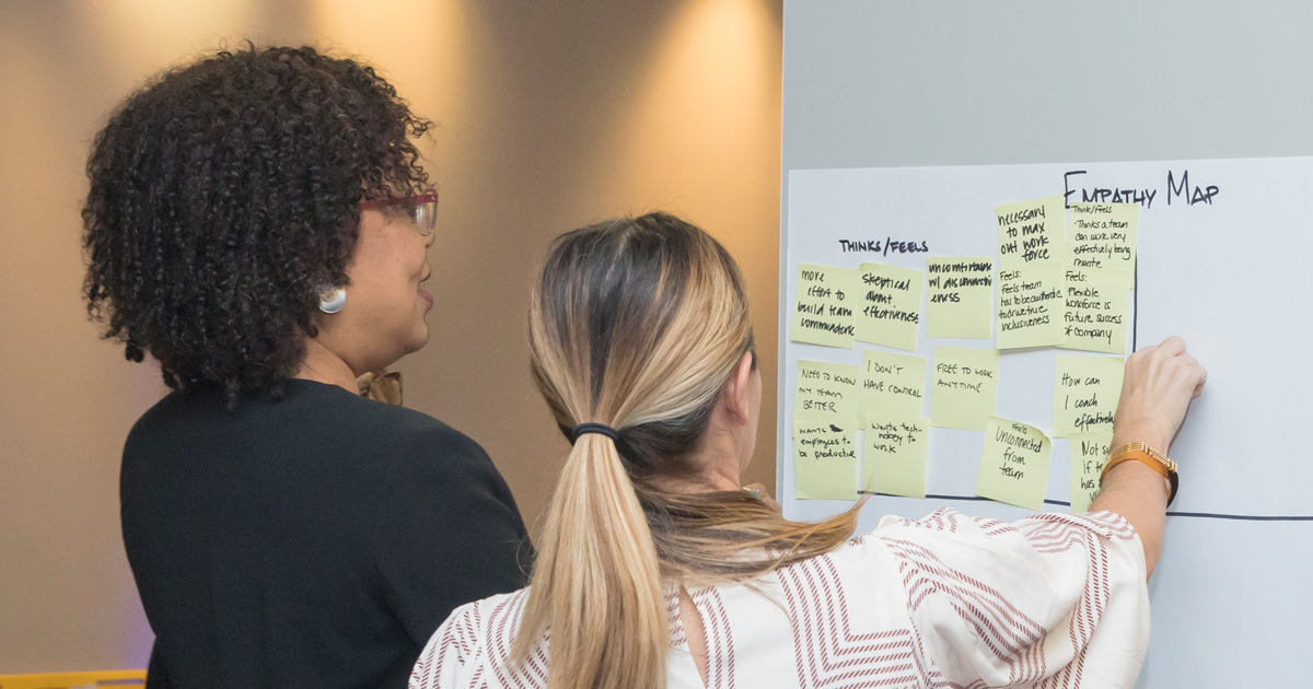 Participants created empathy maps to identify solutions to a future-of-work-related issue.