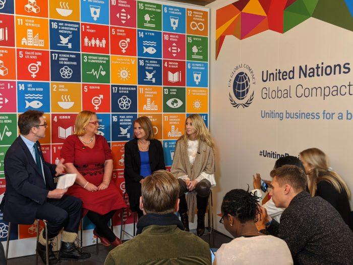 UN Global Compact panel discussion: Dan Thomas, UNGC; Katja Iversen, President & Executive Director, Women Deliver; Lorraine Hariton, President & CEO, Catalyst, and Ann Rosenberg, SAP.