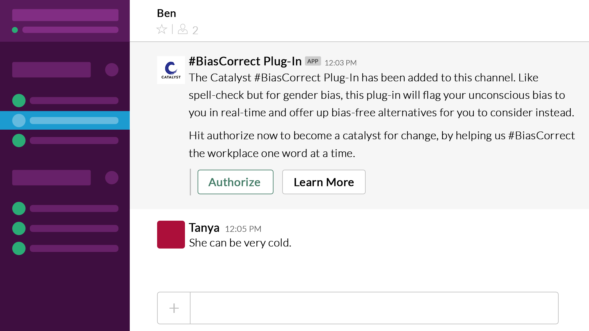 Image showing how to ignore or decline the corrective suggestion that the #BiasCorrect plug-in gives in the Slack app.