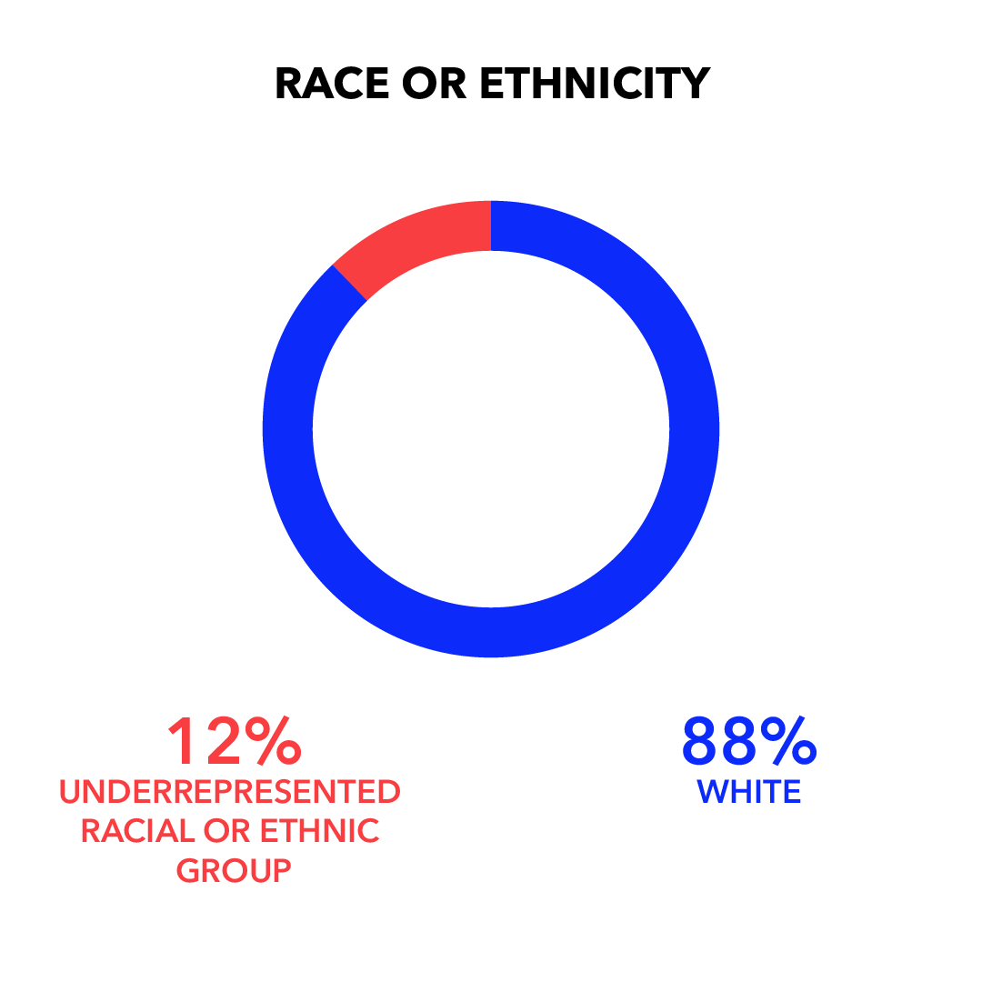Race or Ethnicity: White 88%; Underrepresented Racial or Ethnic Group 12%