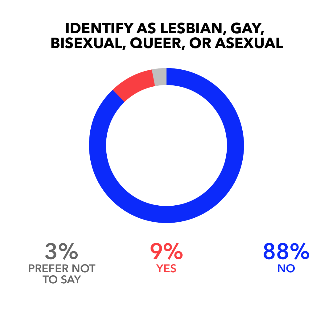 Identify as Lesbian, Gay, Bisexual, Queer, or Asexual: No 88%; Yes 9%; Prefer Not to Say 3%
