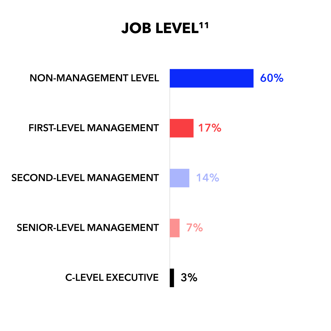 Job Level: Non-Management 60%; First-Level Management 17%; Second-Level Management 14%; Senior-Level Management 7%; C-Level Executive 3%