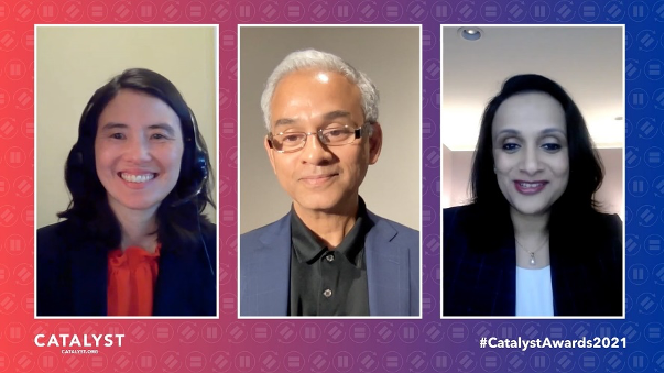 Joy Ohm, Vice President, Science Writer & Advisor, Catalyst moderating a discussion with Tiger Tyagarajan, CEO of Genpact, and Brinda Murty, Global Transformation Services Leader, High-Tech, Manufacturing and Services Vertical, Genpact.