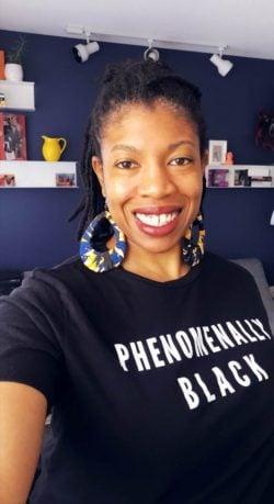"""Andrea Tatum, sporting her """"Phenomenally Black"""" t-shirt."""