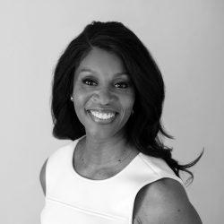 Headshot black and white photo of Elisa Leary